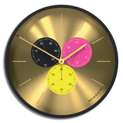 Modern Black Brass Wall Clock - Multicolour Subdial - Newgate Dragon Claw Triptick TRIP710CK