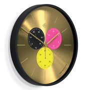 Modern Black Brass Wall Clock - Multicolour Subdial - Newgate Dragon Claw Triptick TRIP710CK (skew)