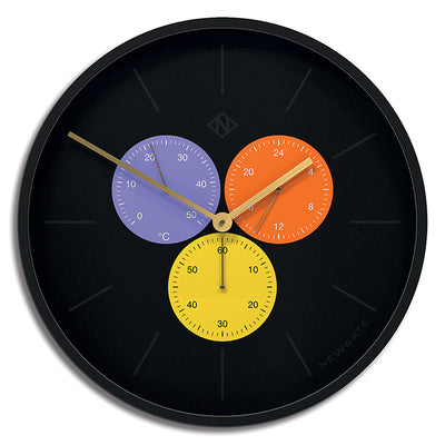 Newgate Snake Eye Triptick wall clock with multicolour sub-dials and modern marker design TRIP692CK