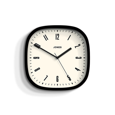 Modern Black Wall Clock Square - Jones Clocks Marvel JMARV145K - front