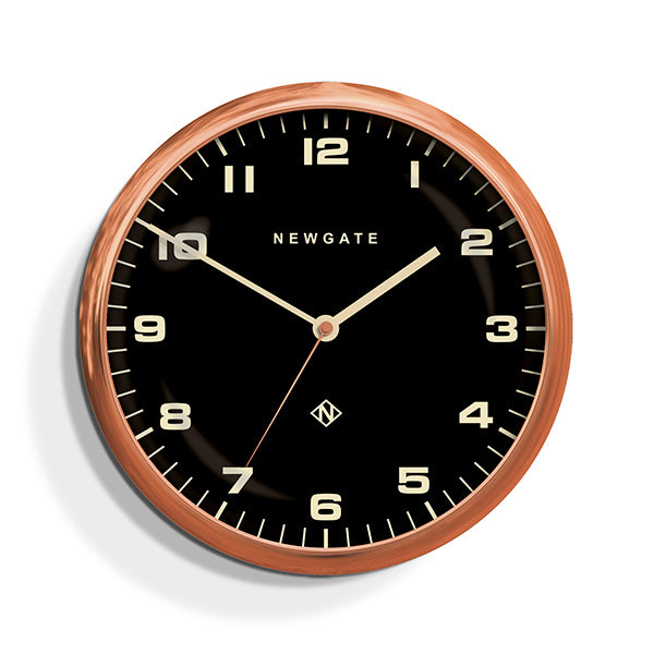 Modern Copper Wall Clock - Silent 'No Tick' - Black Dial - Newgate Chrysler WAT407RAC (front)