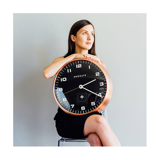 Modern Copper Wall Clock - Silent 'No Tick' - Black Dial - Newgate Chrysler WAT407RAC (lifestyle) 1 copy