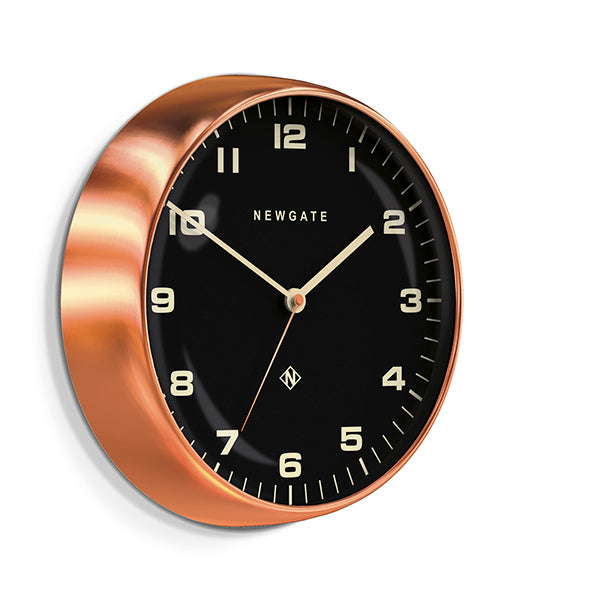 Modern Copper Wall Clock - Silent 'No Tick' - Black Dial - Newgate Chrysler WAT407RAC (skew)