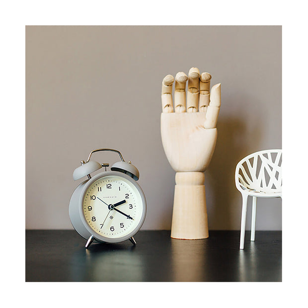 Modern Grey Alarm Clock - Silent 'No Tick' - Newgate Echo CBM134PGY (homeware)