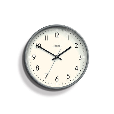 Modern Grey Wall Clock - Jones Clocks Studio JPEN52PGY - front