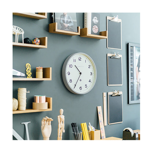 Modern Grey Wall Clock - Minimalist - Newgate Echo NUMTHR129PGY (homeware) 1 copy