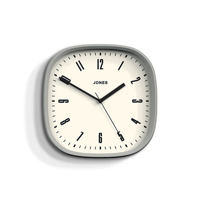 Modern Grey Wall Clock Square - Jones Clocks Marvel JMARV145OGY - front