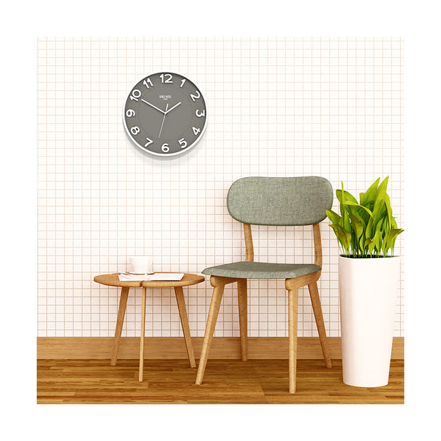 Modern Grey White Wall Clock - Large Easy-Read Numbers - Space Hotel Meteor Mike SH-METE-OGY1-W lifestyle