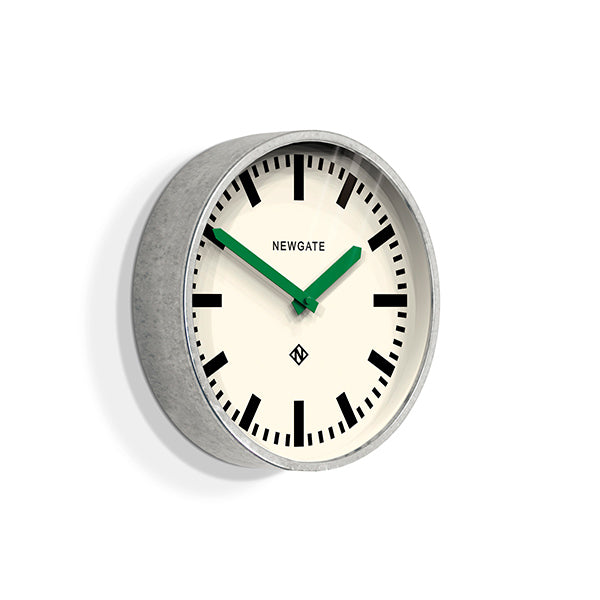 Modern Industrial Wall Clock - Galvanized Metal - Green Hands - Newgate LUGG667GALVG (skew)