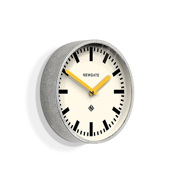 Modern Industrial Wall Clock - Galvanized Metal - Yellow Hands - Newgate LUGG667GALCY (skew)