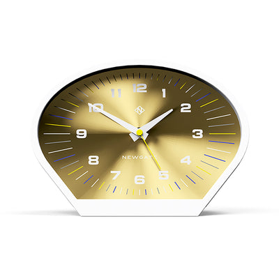 Modern Mantel Clock - Contemporary White Gold - Newgate Space Cowboy MAN-SCOW709PW front