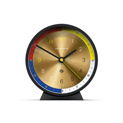 Modern M Mantel clock by Newgate World in spun brass and silicone black - MMAN713CK
