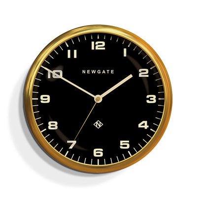 Modern Metal Wall Clock - Gold Brass Black Dial - Silent 'No Tick' - Newgate Chrysler WAT407RAB (front)