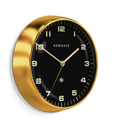 Modern Metal Wall Clock - Gold Brass Black Dial - Silent 'No Tick' - Newgate Chrysler WAT407RAB (skew)