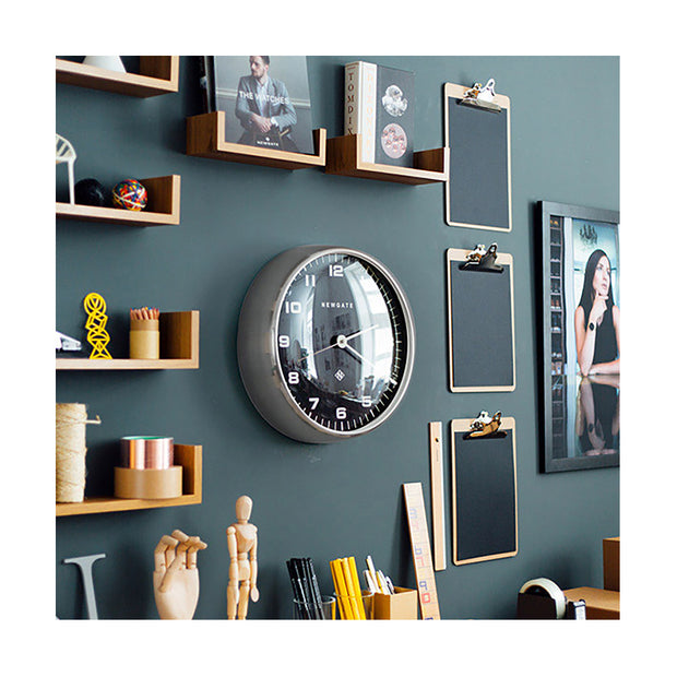 Modern Metal Wall Clock - Silver Steel Black Dial - Silent 'No Tick' - Newgate Chrysler WAT407BSS (homeware) 1 copy