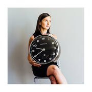 Modern Metal Wall Clock - Silver Steel Black Dial - Silent 'No Tick' - Newgate Chrysler WAT407BSS (lifestyle) 1 copy
