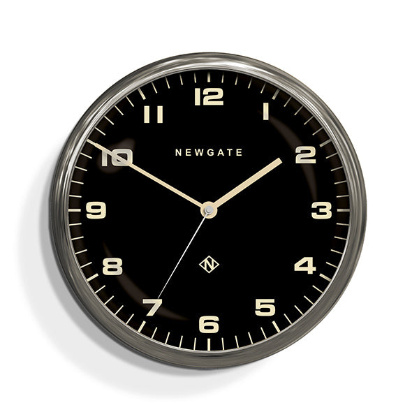 Modern Silver Steel Wall Clock Silent No Tick Black