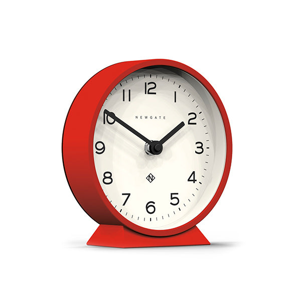 Modern Red Mantel Clock - Colourful Contemporary - Newgate MMAN678FER (skew)