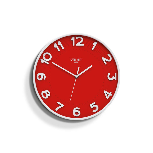 Modern Red White Wall Clock - Large Easy-Read Numbers - Space Hotel Meteor Mike SH-METE-FER1-W