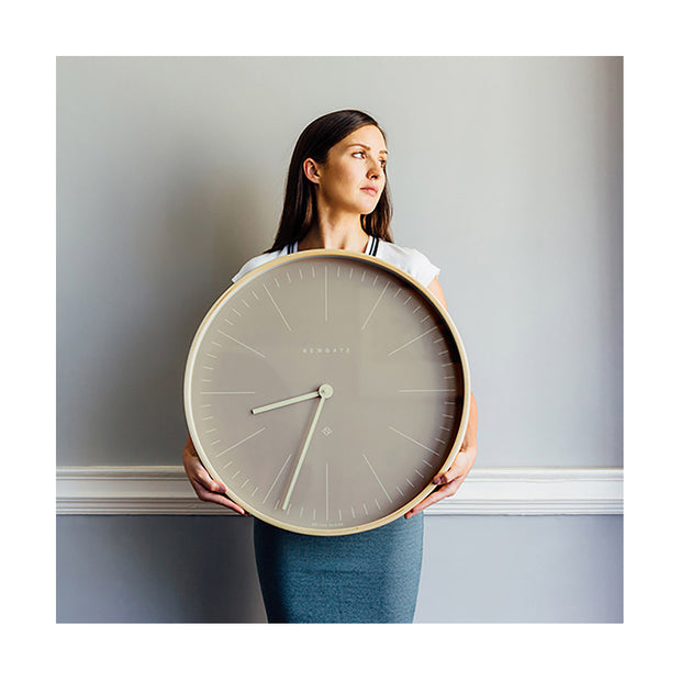 Modern Scandi Wall Clock - Large Plywood & Grey - Newgate Mr Clarke MRC147PLY53 (lifestyle) 1 copy