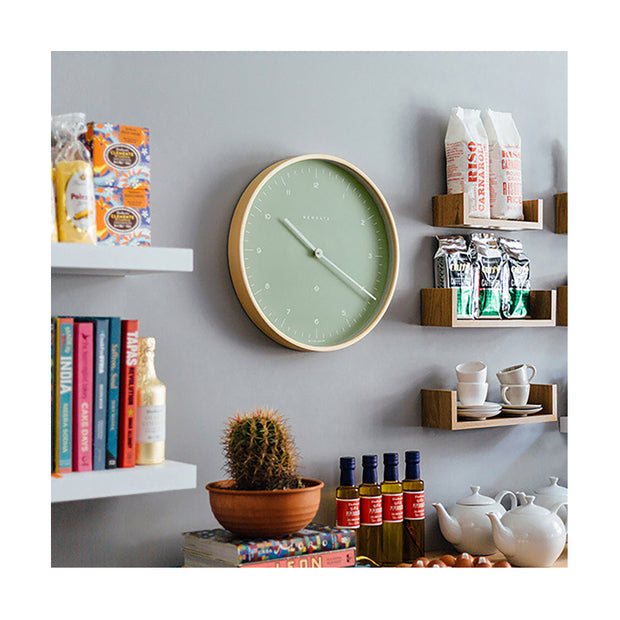 Modern Scandi Wall Clock - Plywood & Green - Newgate Mr Clarke MRC133PLY40 (homeware) 1 copy