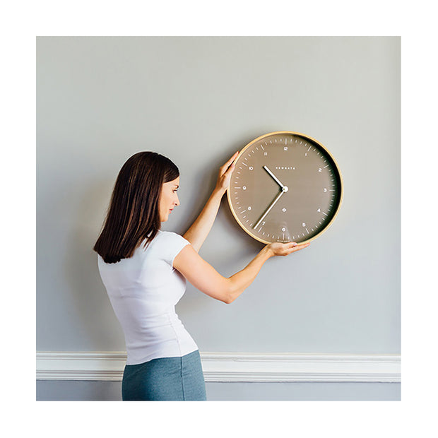 Modern Scandi Wall Clock - Plywood & Sienna - Newgate Mr Clarke MRC140PLY40 (lifestyle) 1 copy