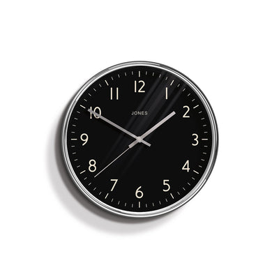 Modern Silver Chrome & Black Wall Clock - Jones Clocks - Penny JPEN63CH