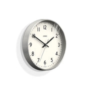 Modern Silver Wall Clock - Jones Clocks - Penny JPEN52S (skew)