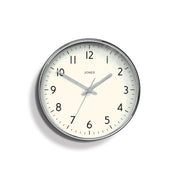Modern Silver Wall Clock - Jones Clocks Studio JPEN52CH - front
