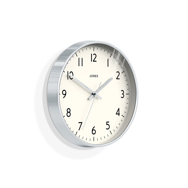Modern Silver Wall Clock - Jones Clocks Studio JPEN52CH - skew