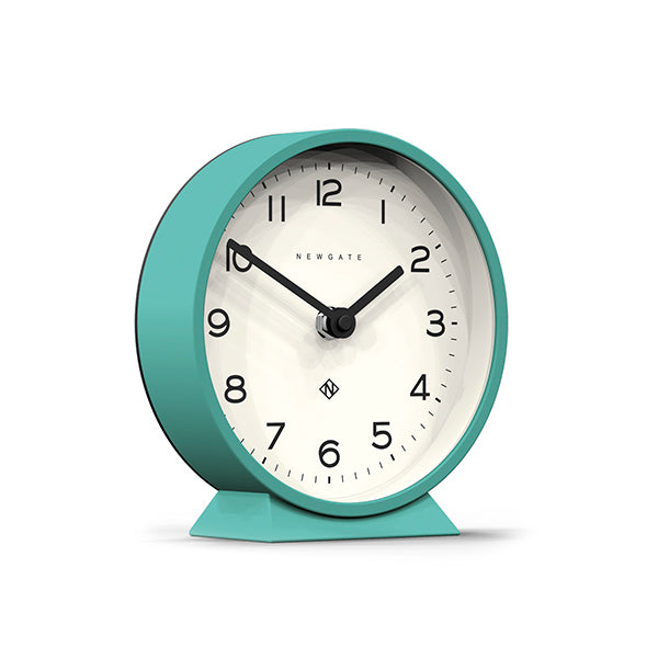 Modern Turquoise Mantel Clock - Colourful Contemporary - Newgate MMAN678AM (skew)