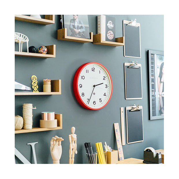 Modern Wall Clock - Bright Colour Red - Newgate Echo NUMTHR129FER (homeware) 1 copy