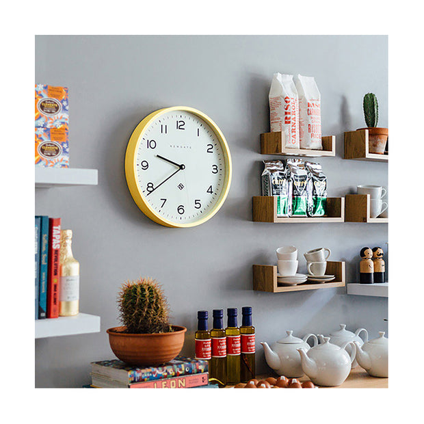 Modern Wall Clock - Bright Colour Yellow - Newgate Echo NUMTHR129CHY (homeware) 1 copy