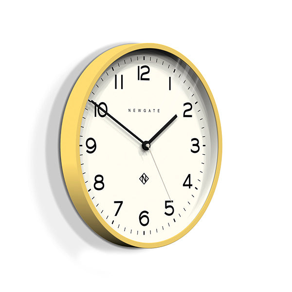 Modern Wall Clock - Bright Colour Yellow - Newgate Echo NUMTHR129CHY (skew)