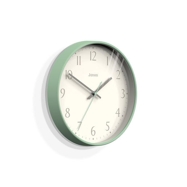 Modern Wall Clock Duck-Egg Blue Contemporary - Jones Clocks Penny JPEN282DE - skew