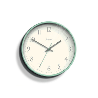 Modern Wall Clock Duck-Egg Blue Contemporary - Jones Clocks Penny JPEN282DE - front
