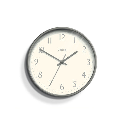 Modern Wall Clock Grey Contemporary - Jones Clocks Penny JPEN282CGY - Front
