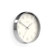 Modern Wall Clock Silver Contemporary - Jones Clocks Penny JPEN282CH - skew