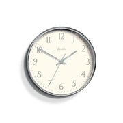 Modern Wall Clock Silver Contemporary - Jones Clocks Penny JPEN282CH - front