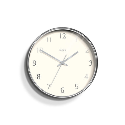 Modern Wall Clock Silver Contemporary - Jones Clocks Penny JPEN730CH