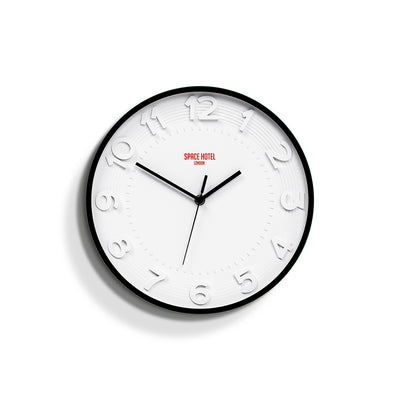 Modern Wall Clock White Black - Space Hotel Meteor Mike SH-METE-W1-K