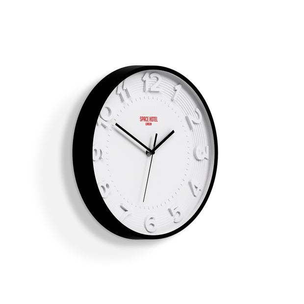 Modern Wall Clock White Black - Space Hotel Meteor Mike SH-METE-W1-K skew