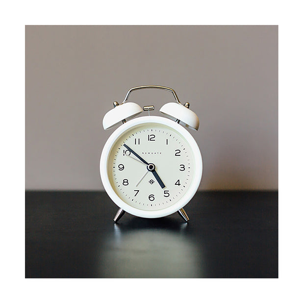Modern White Alarm Clock - Silent 'No Tick' - Newgate Echo CBM134PW (room decor) 1