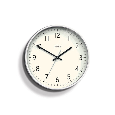 Modern White Wall Clock - Jones Clocks Studio JPEN52PW - front