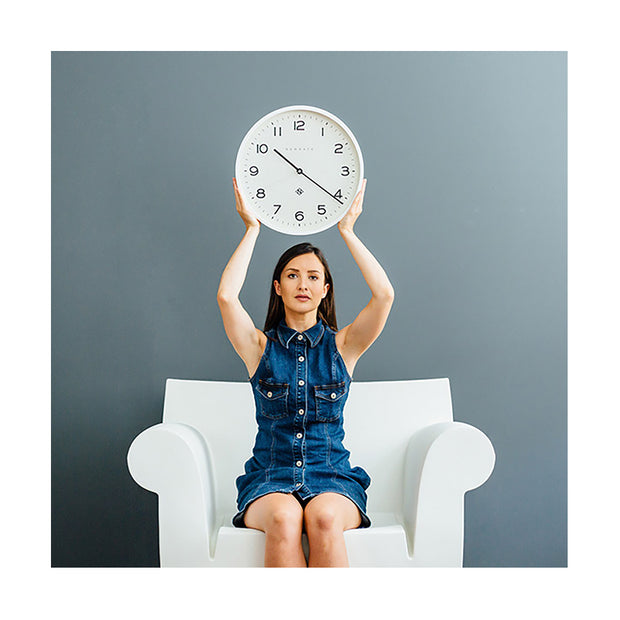 Modern White Wall Clock - Minimalist - Newgate Echo NUMTHR129PW (lifestyle) 1 copy