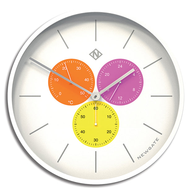 Modern White Wall Clock - Multicolour Minimalist Subdial - Newgate Butterfly Wing Triptick TRIP686PW front