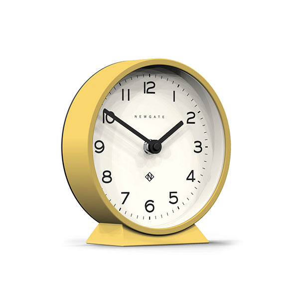 Modern Yellow Mantel Clock - Colourful Contemporary - Newgate MMAN678CHY (skew)