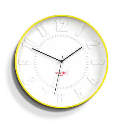 Modern Yellow Wall Clock - Silent Non-Tick - Space Hotel Mars Dog SH-MARS-W1-Y