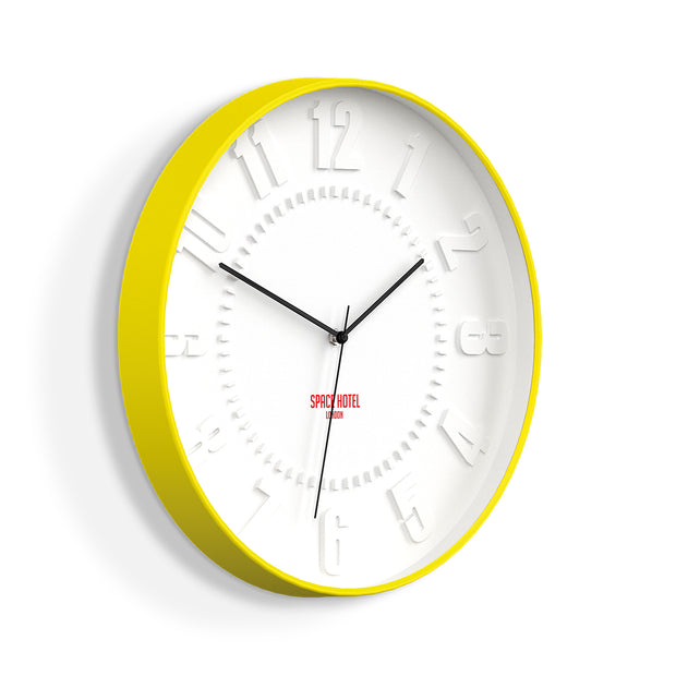 Modern Yellow Wall Clock - Silent Non-Tick - Space Hotel Mars Dog SH-MARS-W1-Y skew