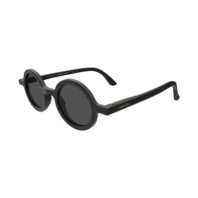 Side view of Moley Sunglasses by London Mole with Black Frames and Black Lenses